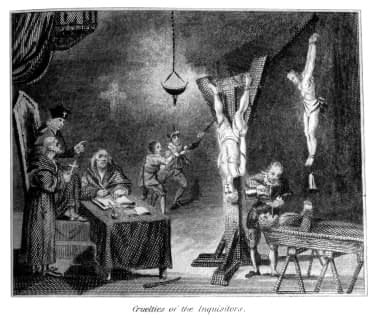 Vintage engraving from 1807 showing people being tortured during the Spanish Inquisition.