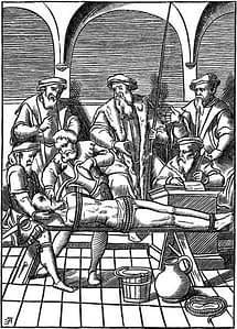 """""""The Water Torture.- Facsimile of a Woodcut in J. Damhoudère's Praxis Rerum Criminalium: in 4to, Antwerp, 1556."""" - Used to illustrate http://en.wikipedia.org/wiki/Water_cure"""