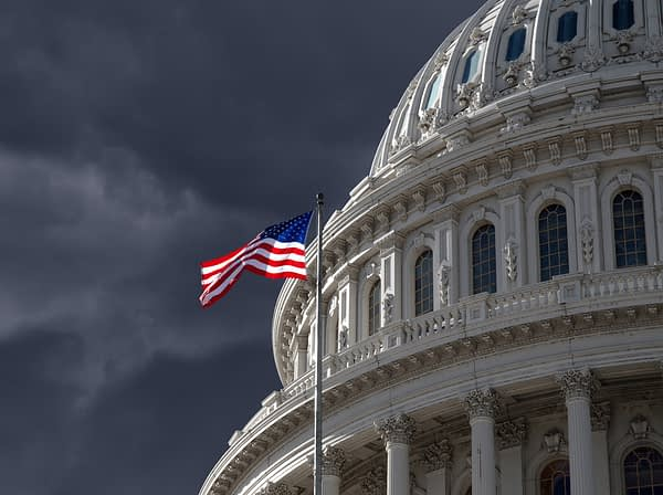Dark sky over the US Capitol building dome in Washington DC.