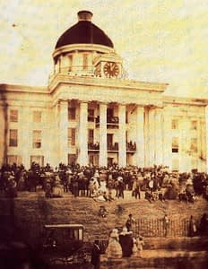 Jefferson Davis sworn in as President of Confederacy at Alabama capitol building