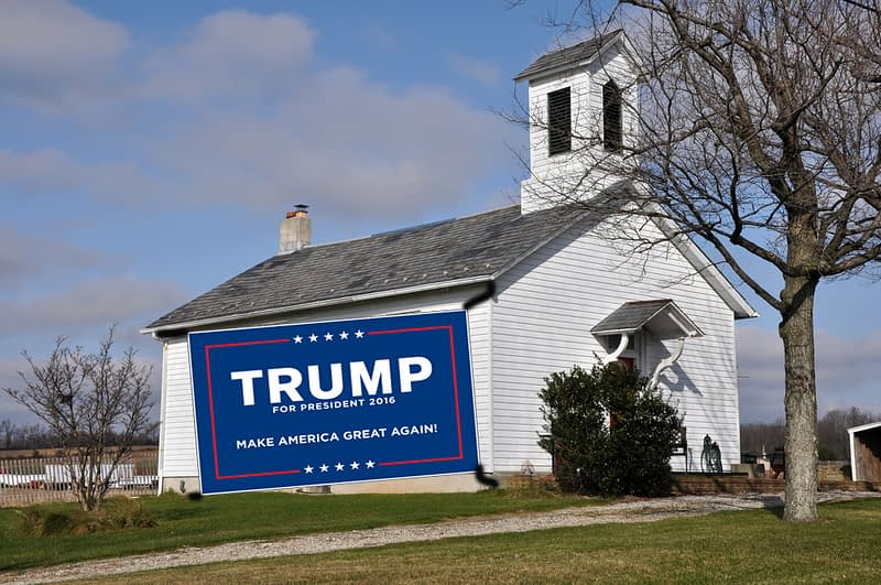 church with trump sign - depositphotos / cfarmer