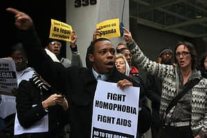 Protesters outside Uganda High Commission, London, January 8, 2014.  Photo by Kaytee Riek - Creative Commons - Flickr