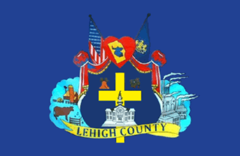 Lehigh County Flag prominently featuring Christian cross in the center