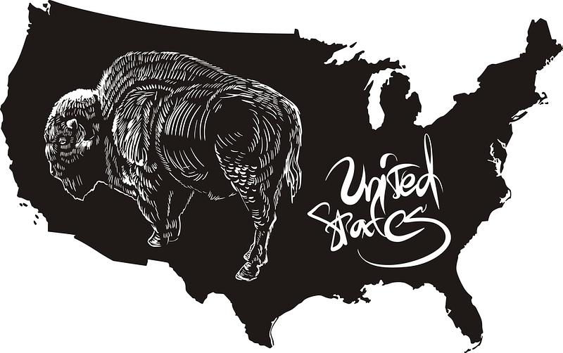 American buffalo and U.S. outline map